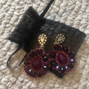 Jewelry - Purple and red jewel dangle earrings